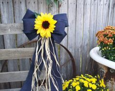 Burlap and Sunflower Pew Bow Country Wedding Decor by OneFunDay