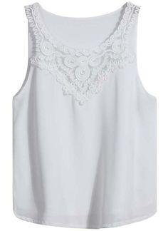 White Sleeveless Embroidered Vest