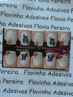 Adesivo de unhas  Corujinha e flores Whatsapp 38992320847
