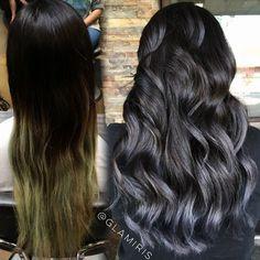 Swampy Hair Color to glorious charcoal and black by Iris Smith a.k.a. glamiris. #hotonbeauty facebook.com/hotbeautymagazine