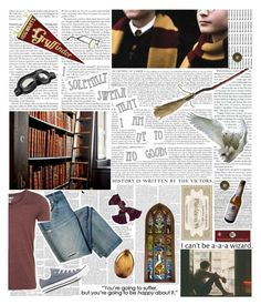 """""""the boy who lived"""" by dietcokebitch ❤ liked on Polyvore featuring INC International Concepts, WALL, Converse, harrypotter, hogwarts, Gryffindor, Harry and hedwig"""