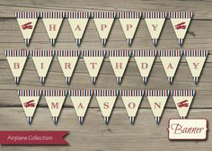 Airplane Birthday Party Banner, Printable Airplane Birthday Banner, Plane, DIY, Digital, Personalized, Red, Blue, Polka Dot, Decorations on Etsy, $8.00