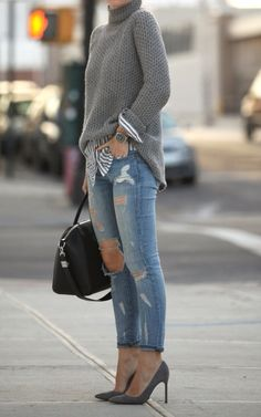 Striped grey shirt under cable knitted turtleneck sweater. Distressed skinny jeans. Grey heels. 2014 winter trends. Womens fashion outfit ideas.