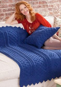 """Blueberry Mornings Basket Weave Crochet Afghan and Pillow ~ beautiful! ~ finished size 45"""" x 55""""; pillow 18"""" x 18"""" ~ intermediate level ~ FREE - CROCHET"""