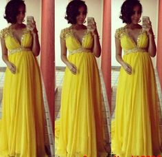 Sexy Yellow Prom Dresses,Hot Sale Beaded Prom Dress,Sequins