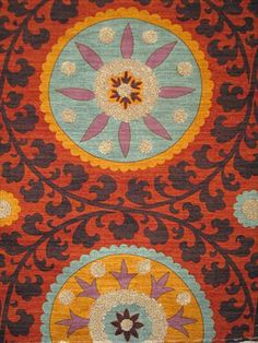 "Tribal Thread in Sunset, 100% cotton Suzani print and boucle embroidery, 54"". $39.95"