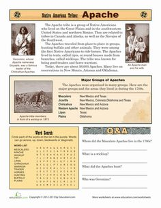 Third Grade History Comprehension Worksheets: Native American Tribes: Apache