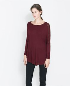 Image 1 of T-SHIRT WITH TRANSPARENT SHOULDERS from Zara