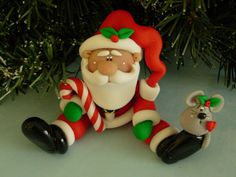 Santa Candy Cane and Little Christmas Mouse by ClayBabiesInc, $24.95