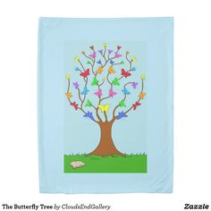 The Butterfly Tree Fleece Blanket - kids kid child gift idea diy personalize design Pet Gifts, Home Gifts, Butterfly Tree, Counting Sheep, Edge Stitch, Diy Stuffed Animals, Animals And Pets, Gifts For Kids, Design Art