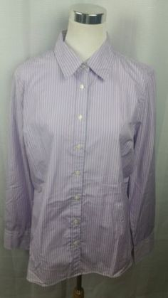 41f78d9c926 Crew Factory Women s Classic Long Sleeve Striped Button Up Shirt Size XL
