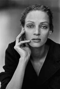 Portraits d'actrices par Peter Lindbergh Uma Thurman New York, États-Unis, 1997.