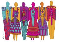 Laurel Burch people / family illustration