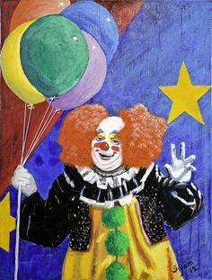 Happy Clown with balloons red hair Original Oil on by VyaArt