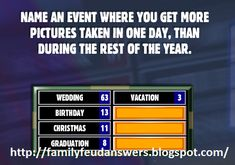 Christmas Games, Family Christmas, Family Feud Game Questions, Facebook Engagement Posts, Dinner Games, 40th Birthday Parties, 40 Birthday, Group Games, Gender Neutral Baby Shower