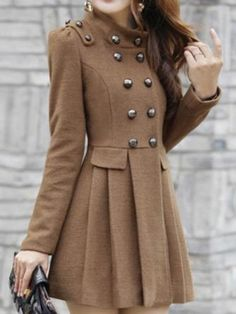 Double Button Slim Elegant Long Sleeve Coat