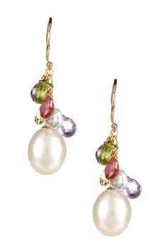 Gemstone Cluster & Pearl Earrings