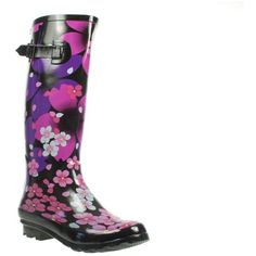 Pink Floral Print Wellington Boots Buckle Strap ($28) ❤ liked on Polyvore