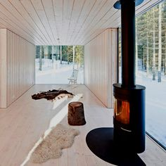 White cabin black fireplace