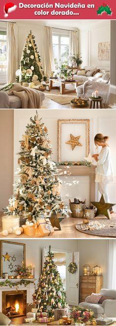 Decoración navideña en color dorado. Ideas para decorar la Navidad. Ideas navideñas en dorado.