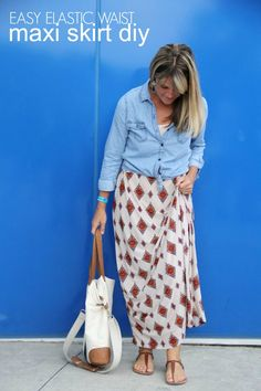 how to make an easy elastic waist maxi skirt     perfect for transitioning your wardrobe from Summer to Fall