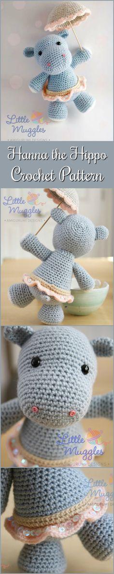 Hanna the Hippo Amigurumi Crochet Pattern #etsy #amigurumidoll #ad #amigurumi #crochetpattern #download