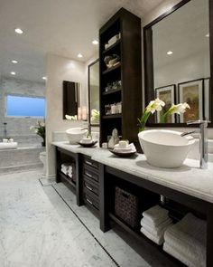 vaniti, contemporary bathrooms, orange county, cabinet, bathroom designs, sink, master baths, open shelving, bath design