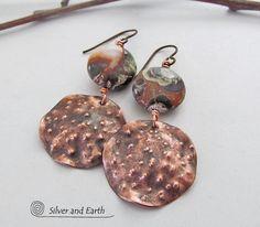 Copper Earrings with Mushroom Jasper Stones by SilverandEarth, $38.00