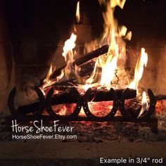 "Horseshoe Fireplace Grate. Custom Order 1/2"", 3/4"" or 1"". Fireplace Decor, Horseshoe Decor, Rustic Decor, Country, Cabin, Lodge, Western."