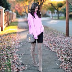 Happy weekend   If you're on the hunt for over the knee boots these are my favorite! They stay up so well & come in a ton of colors. Also under $100 I'm linking a dupe for my bag & the best leggings ever as well http://liketk.it/2tHm4 @liketoknow.it  #liketkit