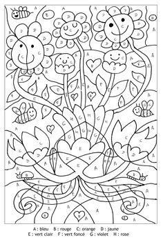 Coloriage-magique Fleurs