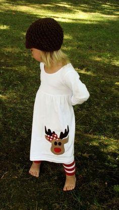 Cute Reindeer Christmas Applique dress.
