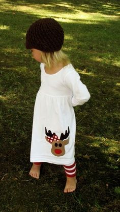 Cute Reindeer Christmas Applique dress.