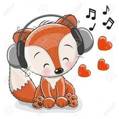 Illustration of Cute cartoon Fox with headphones and hearts vector art, clipart and stock vectors. Cartoon Cartoon, Drums Wallpaper, Drum Lessons For Kids, Scroll Saw Patterns Free, Blue Nose Friends, Woodland Critters, Fox Art, Cute Fox, Printable Designs