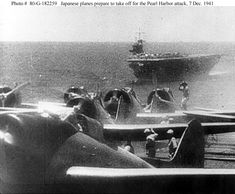 """Pearl Harbor Attack, 7 December 1941Japanese Navy Type 99 Carrier Bombers (""""Val"""") prepare to take off from an aircraft carrier during the morning of 7 December 1941.Ship in the background is the carrierSoryu.Official U.S. Navy Photograph, National Archives Collection."""