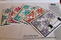 Stampin up garden in bloom stampset. A set of 5 cards I made in 5 colours & different greetings. STAMP WITH RACHEL