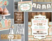 Wild ONE First Birthday Invitation - Printable Invites and Decor - Tribal  Coral Teal and Gold - Wild One Birthday- Kit Instant Download