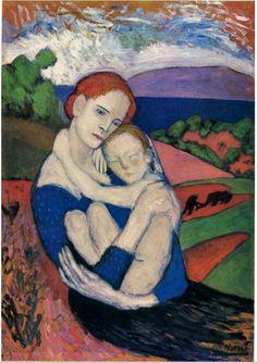 """""""Maternité en el campo"""" (Mère et enfant dans la campagne), Picasso (1901)"""