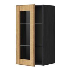 METOD Élément mural+tablettes/pte vitrée - effet bois noir, Hyttan plaqué chêne, 40x80 cm - IKEA
