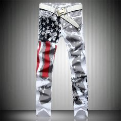 >> Click to Buy << Mens Printed Jeans Flag Printing Design White Jeans For Men Stars Striped Straight Ripped Jeans Male 36 Free Shipping #Affiliate