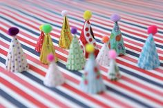 mini party hat cupcake toppers brights by chiarabelle on Etsy