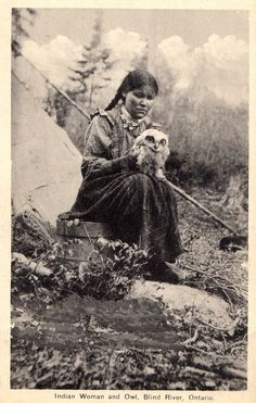 """c. 1910s: """"Indian woman and owl, Blind River, Ontario"""""""