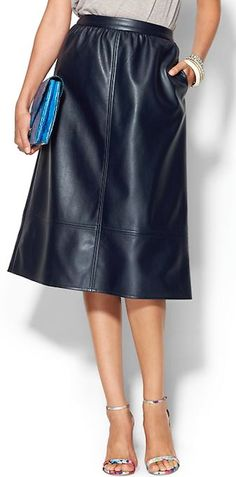faux leather navy midi skirt http://rstyle.me/~3MUqr