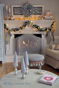 Christmas Open House~A Pastel Christmas - All Things Heart and Home Christmas Open House, Christmas Fireplace, Christmas Mantels, Noel Christmas, All Things Christmas, Christmas Ideas, White Christmas, Christmas Trimmings, Elegant Christmas