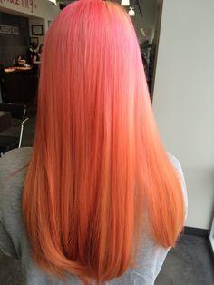 Inspiring Pastel Hair Color Ideas – My hair and beauty Girl Hair Colors, Hair Dye Colors, Cool Hair Color, Brown Hair Colors, Hair Colour, Coral Hair, Pink Peach Hair, Pink And Orange Hair, Pelo Multicolor