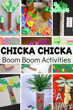 Bring the classic book Chicka Chicka Boom Boom to life with these fun activities! There's name activities, sensory play, snacks, and more to help enforce learning the alphabet through play. Early Learning Activities, Rhyming Activities, Activities For Kids, Educational Activities, Preschool Lesson Plans, Kindergarten Lessons, Environmental Print, Chicka Chicka Boom Boom, Preschool Special Education