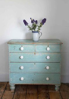 painted dresser just with different hardware - love the colour