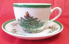 Spode England CHRISTMAS TREE Tea Cup And Saucer  S3324-U Xmas Holiday Theme