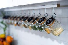 Hanging Spice Rack, Diy Spice Rack, Spice Shelf, Spice Storage, Spice Organization, Spice Jars, Spice Rack Container Store, Spice Rack Clips, Spice Rack Unique