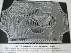 "Mary Card crochet chart - ""Narcissus and Titmouse"" design.  Also sometimes called ""Java Sparrows and Narcissus"" and known as the Laura Ingalls Wilder doily."